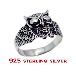 925 Sterling Silver Owl Bird Ring Size 6 7 8 9