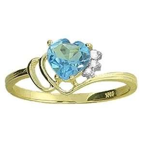 Genuine Heart Blue Topaz & Diamond 14k Gold Promise Ring Jewelry