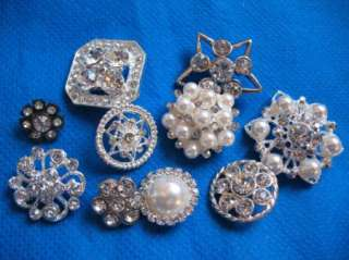 10 Sparkling Clear Crystal Rhinestone Button Mix lots