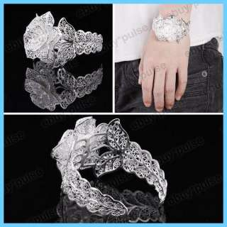 White Silver Big Carve Flower Leaf Cuff Party Bridal Bangle Bracelet