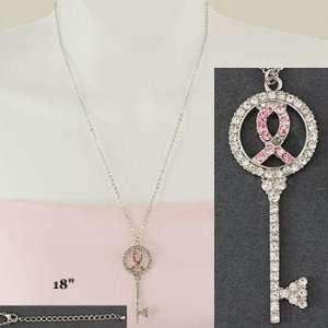 Necklace ~ Breast Cancer ~ Key with Pink Ribbons