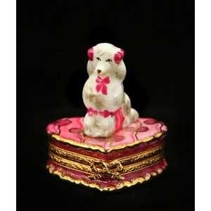 Poodle Dog on Pink Heart French Porcelain Limoges Box