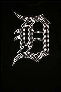 Studded Detroit Tigers D Bling Jersey Tank Top Tee T Shirt LONG SLEEVE