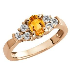 0.76 Ct Oval Citrine and White Topaz Gold Plated Silver