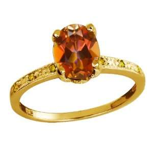 Oval Ecstasy Mystic Topaz and Citrine Yellow Gold Plated Silver Ring