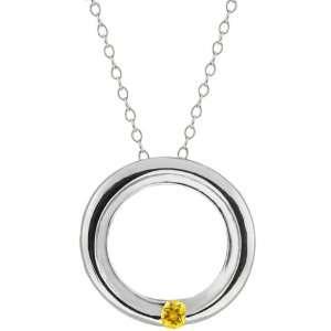 Round Yellow Citrine 10k White Gold Circle Pendant