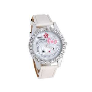 Hello Kitty Dial Analog Watch with Crystal Bezel (White) with Free