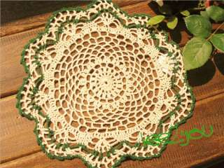 Exquisite Hand Crocheted Table Runner Place Mat Doily Green