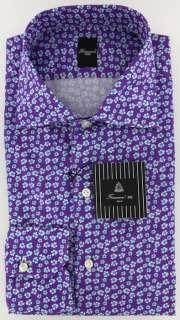 New $425 Finamore Napoli Purple Shirt 15.75/40