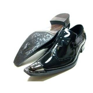 Mens Black Designer Metal Tip Slip On Loafer Dress Shoes d Aldo Styled