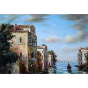 Italian Venice Water Street Scene Oil Painting 12 x 18