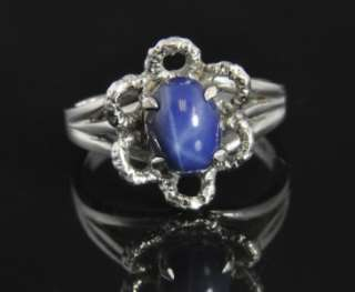 14K White Gold 2.20 CT Natural Blue Star Sapphire Solitaire Flower