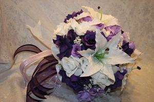 Purple Lavender Roses Casablanca Lilies Silk Flower Wedding Bridal