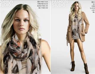Women hand painted scarves shawl wrap 07#