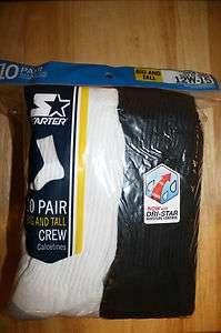 Starter Big & Tall Mens 10 pack Crew Socks w/ Dri Star Moisture