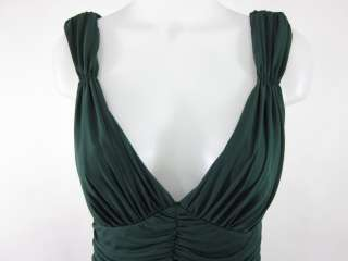 VERA WANG Green Sleeveless Ruched Full Length Dress 12