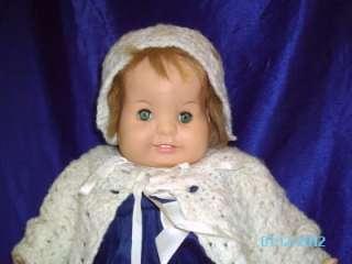 23 BABY DEAR ONE DOLL W/ TEETH & BLUE GREEN EYES & BLUE VELVET DRESS