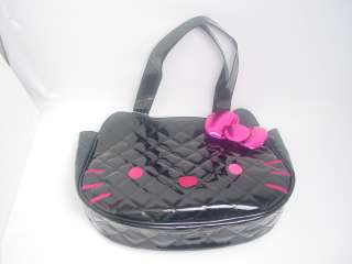 Hello Kitty Face Tote Handbag Embossed Quilted Faux Leather & 3D Bow