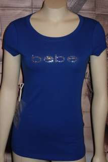 XS*S*M*L*XL BEBE rhinestone LOGO tee shirt top ROYAL BLUE