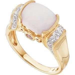 Unique White Opal & Pink Tourmaline Diamond Milgrain Gold Ring