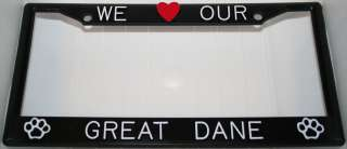 Black I Love My Great Dane Plastic License Plate Frame