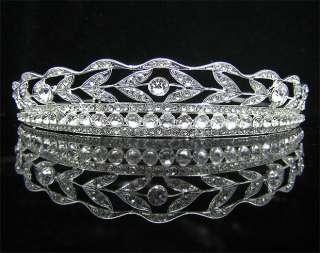 Wedding/Bridal crystal veil tiara crown headband CR194