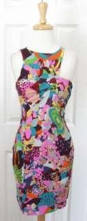 Chic GIANNI VERSACE Multi Print Asymetric Silk Cocktail Dress 44 S