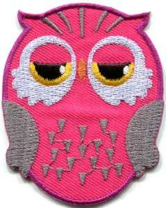 Owl bird of prey hoot animal wildlife pink applique iron on patch new