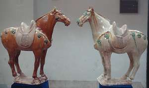 Pair of Large Chinese Tang Dynasty Sancai Horses
