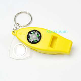 NEW 4in1 Mini Survival Tool Thermometer Whistle Compass