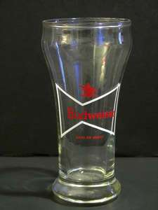Vintage Budweiser White Bow Tie Pilsner Beer Glass