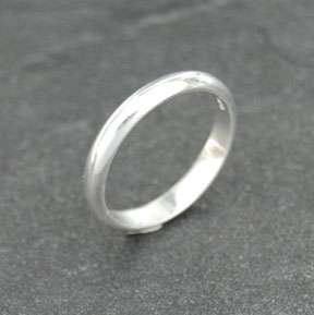 Sterling Silver Plain 3mm Band Wedding Ring Solid 925 Jewelry Rounded
