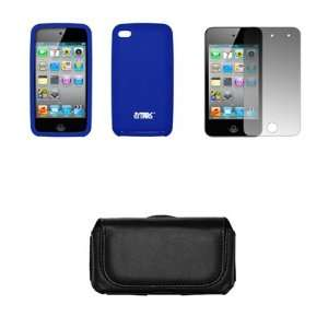 Ipod Touch 4 Premium Black Leather Carrying Case + Premium Blue Case