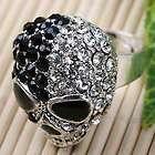 Black White Crystal Skull Adjustable Cocktail Ring#6.5