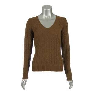 Sutton Studio Womens Cashmere Cable Knit V Neck Sweater