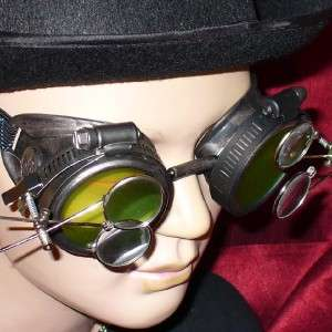 Steampunk Goggles Glasses magnifying lens Pewter LM D