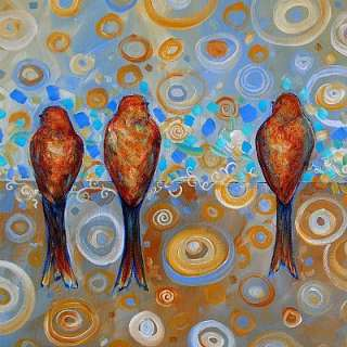 Art ORIGINAL WHIMSICAL MODERN CONTEMPORARY TREE BIRD PAINTING