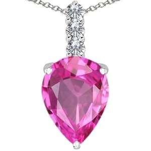 Gold Lab Created Pear Shape Pink Tourmaline and Diamond Pendant
