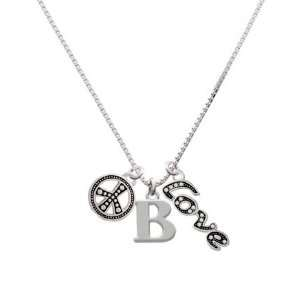 Large Silver Initial   B, Peace, Love Charm Necklace [Jewelry