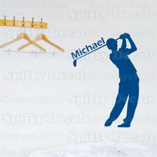 GOLF GOLFER PERSONALIZED CUSTOM NAME BOY GIRL Bedroom Vinyl Wall Decal