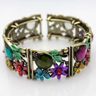 2012 New styles Flower Rhinestone Crystal Copper Bangle Cuff Bracelet