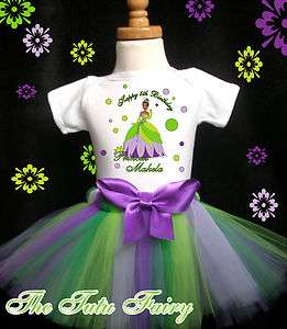 Tiana and frog Birthday Shirt Tutu SET Outfit 1st first baby girl name
