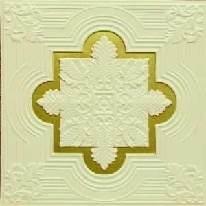 206 Faux Tin Drop In Ceiling Tiles 24x24   Cream Pearl