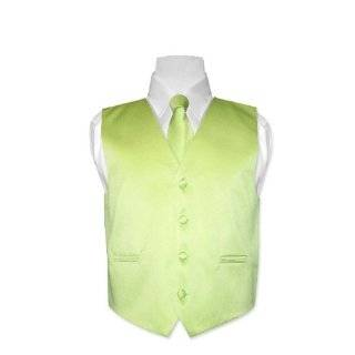 Mens LIME GREEN Dress Vest and NeckTie Set for Suit or