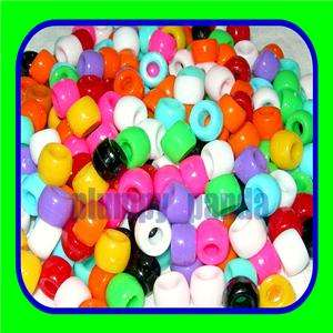 120 assorted mixed bright colors plastic pony beads 9mm