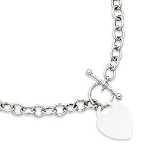 14k White Gold Heart Charm Necklace Length 18 Jewelry