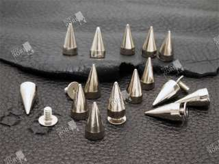 15mm Silver Cone Spikes Screwback Studs Leathercraft DIY Goth Punk