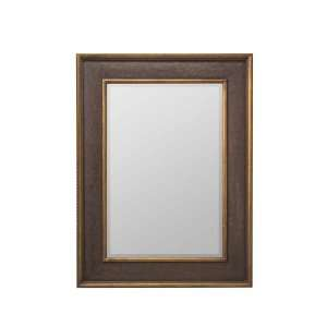 Wall Mirror Embossed Leather with Antique Gold Trim Frame