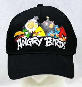 NWT ANGRY BIRD Kids Youth Boys Baseball Cap Hat   Black with Full
