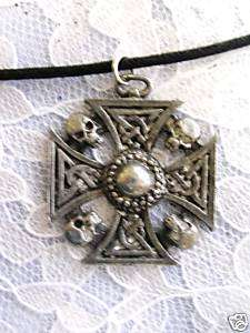 OLD PEWTER CELTIC IRON CROSS & SKULLS PENDANT NECKLACE